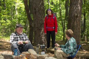 DF-03247_R (l to r) Nick Nolte stars as Stephen Katz, Kristen Schaal as Mary Ellen and Robert Redford as Bill Bryson camping along the Appalachian Trail in Broad Green Pictures upcoming release, A WALK IN THE WOODS. Credit:Frank Masi, SMPSP/ Broad Green Pictures